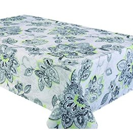 "Fiore Grey & Green 94x58"" Stain Resistant Tablecloth"