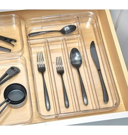 Crisp Expandable Cutlery Organizer Clear
