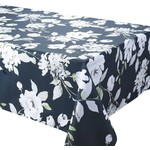 """Dahlia Black 70"""" Round Stain Resistant Tablecloth"""