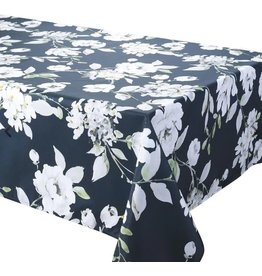 "Dahlia Black 70"" Round Stain Resistant Tablecloth"
