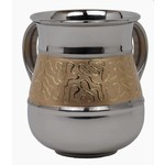 57024 Washing Cup Stainless Steel With Gold Designs