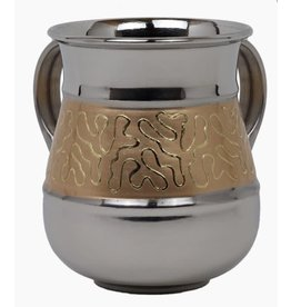 Stainless Steel Washing Cup With Gold Designs