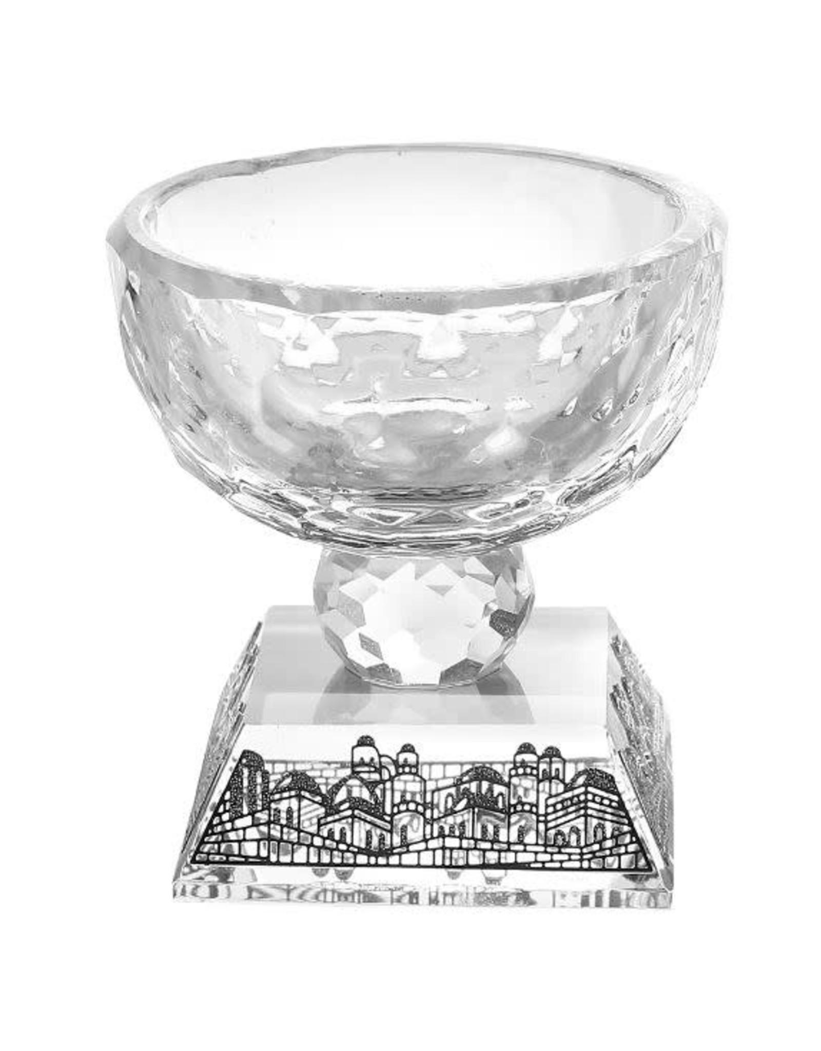 15867 Silver Jerusalem Crystal Salt Holder