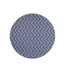 "15"" Chevron Reversible Navy Round Place Mat"