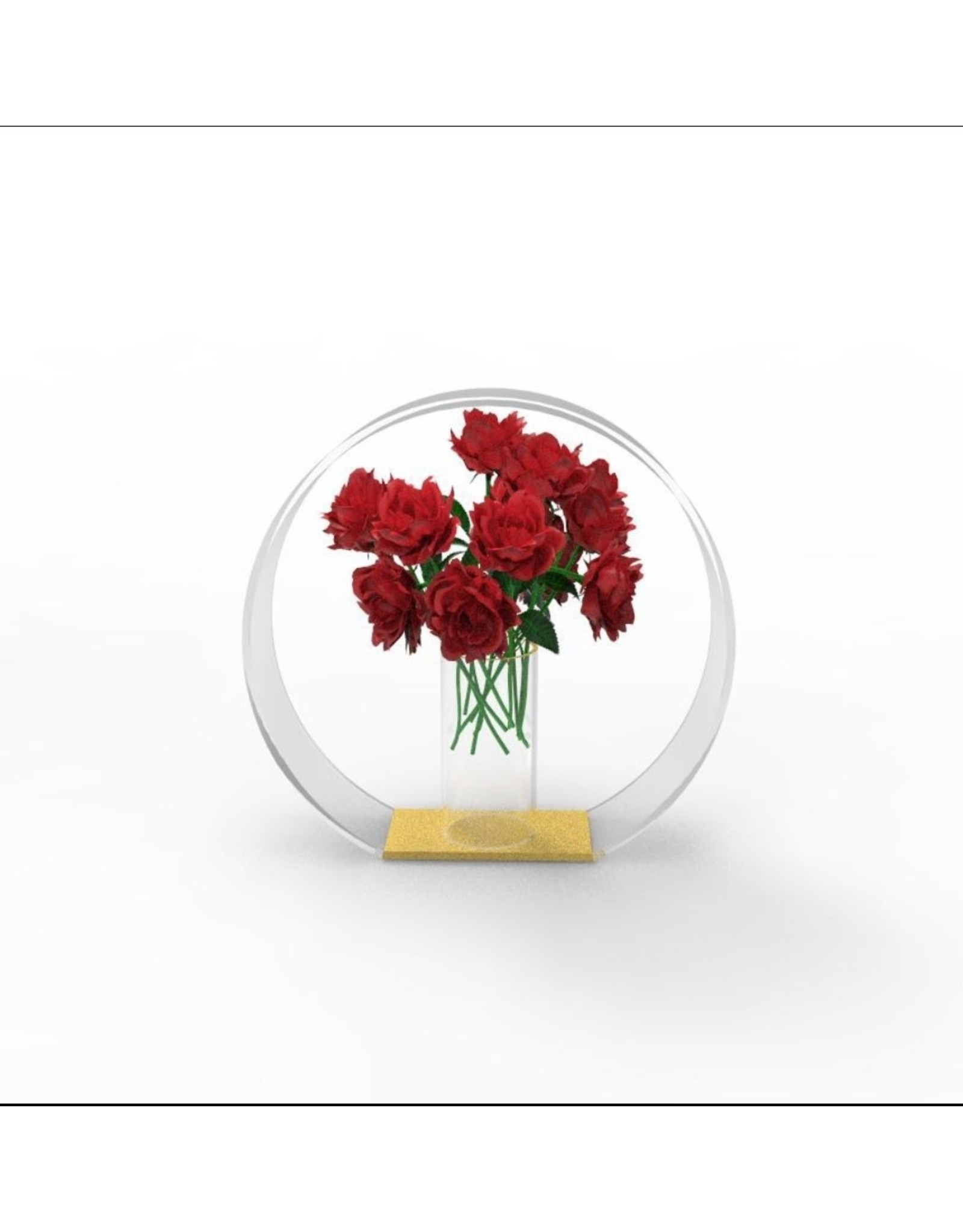 Circle In Vase Gold Accent