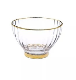 DB1045 Straight Line Textured Dessert Bowl with Vivid Gold Rim and Base