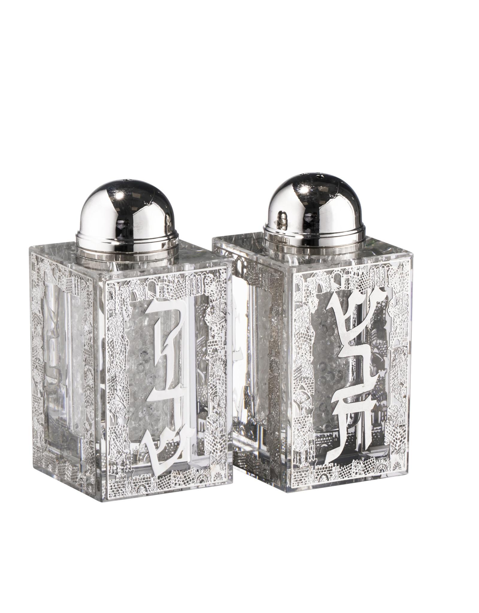 153852 Silver Jerusalem Crystal Salt & Pepper Shaker Set