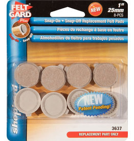 """FELT-SNAP-ON/OFF RPLACEMNT PADS 1""""-"""