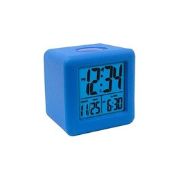 Soft Cube LCD Alarm Clock- Blue