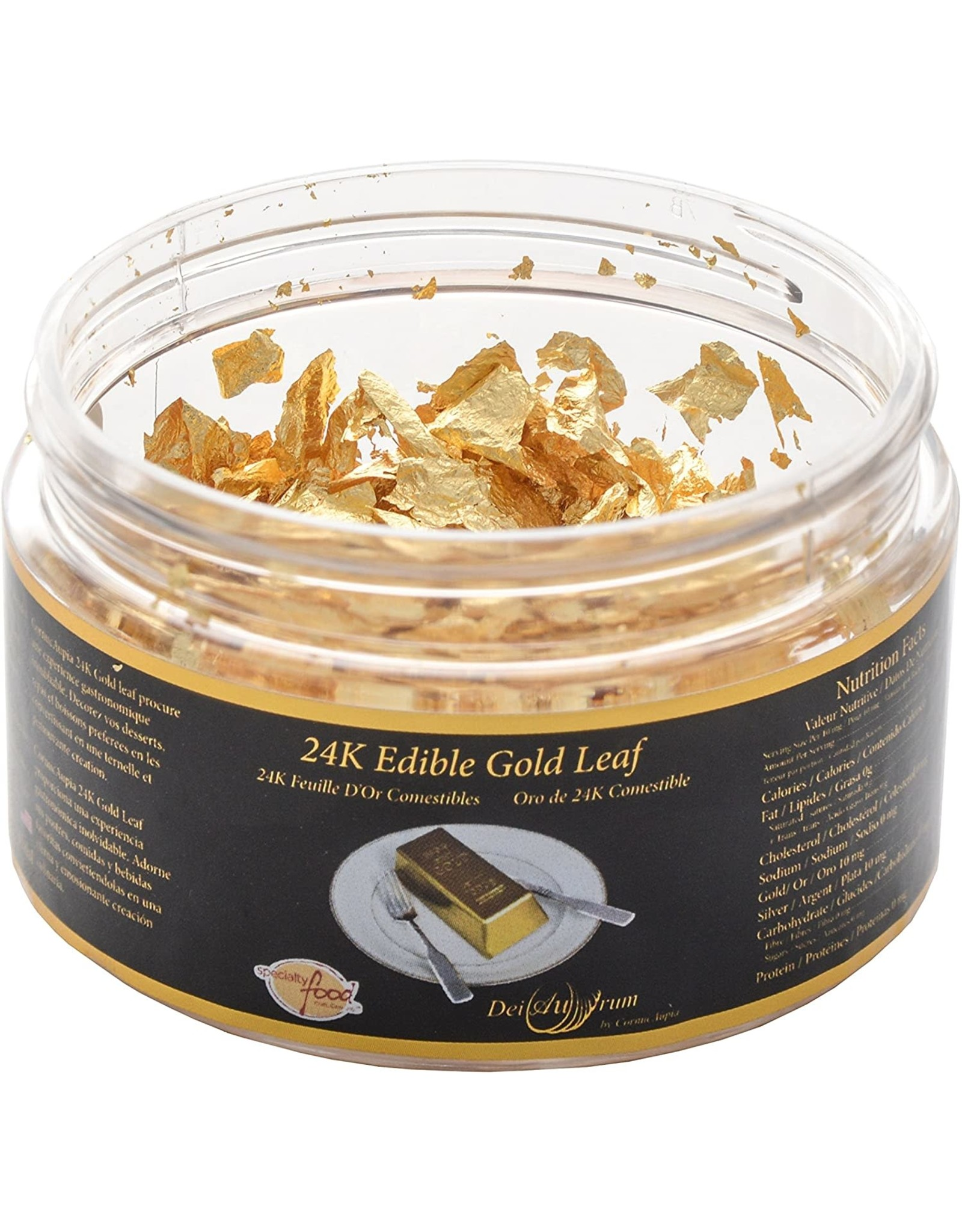 24K Edible Gold Leaf Flakes Jar - 0.100g