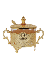 57139 Honey Dish Gold Plated Filigree Design 5.5x3.5x4.5