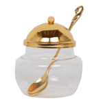 59321New Honey Dish Gold With Spoon