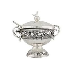 409 Silverplate Honey Dish Flowers