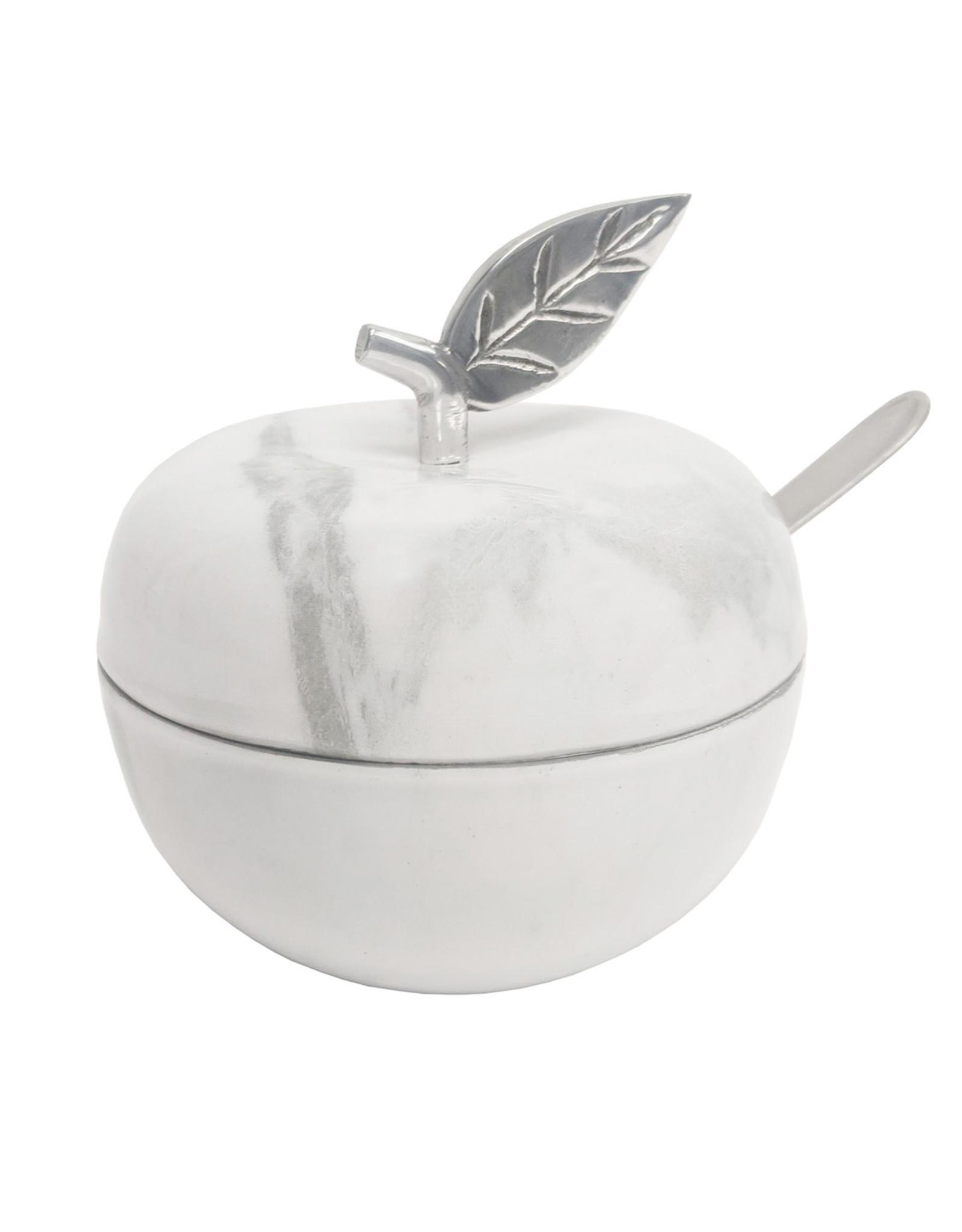 96770 White Marble Apple Honey Jar
