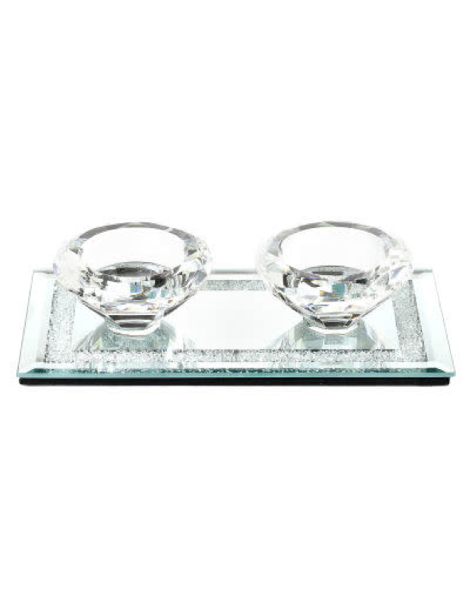 55530 Crystal Candle Holder w Glass Base 3.5x6.7""