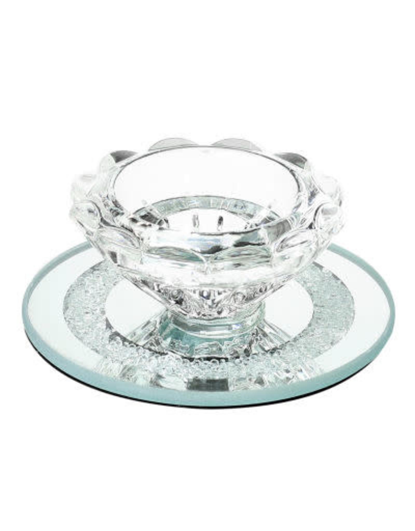 Crystal Candle Holder w. Glass Base , Round Base 3.5