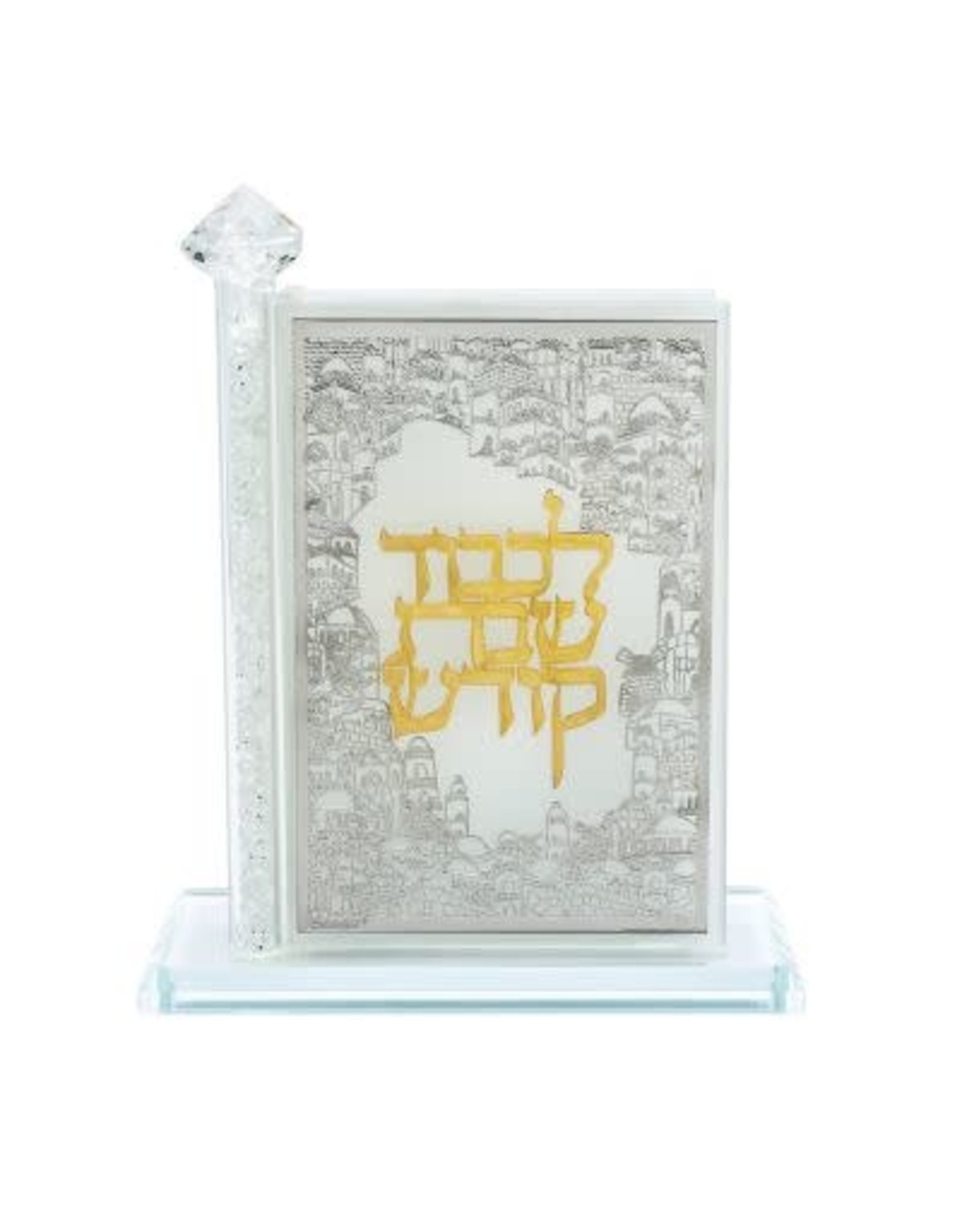 181010 Crystal Match Box Standing Combined Gold and Silver plate