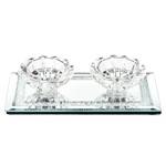 """55541 Crystal Candle Holder w Glass Base 3.5x6.7"""""""