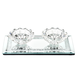 Crystal Candle Holder w Glass Base 3.5x6.7""
