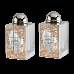"Crystal Salt & Pepper Set Gold Jerusalem with Silver Shabbat Kodesh 3""HX1.5"""