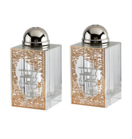 "Crystal Salt & Pepper Set Gold Jerusalem with Silver Shabbat Kodesh 3""HX1.5"""