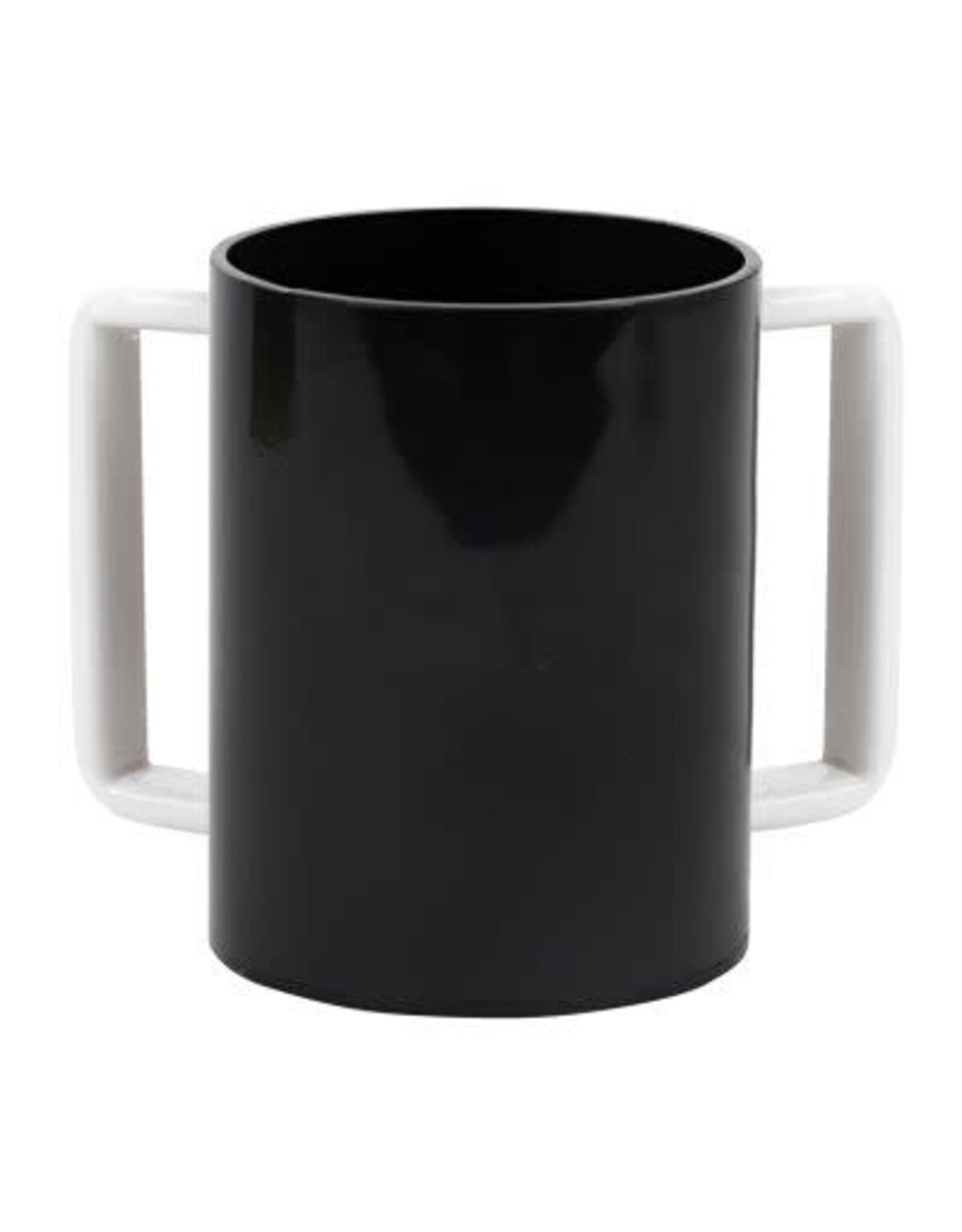 "57185 Acrylic Washing Cup  Black White Handles 5"""
