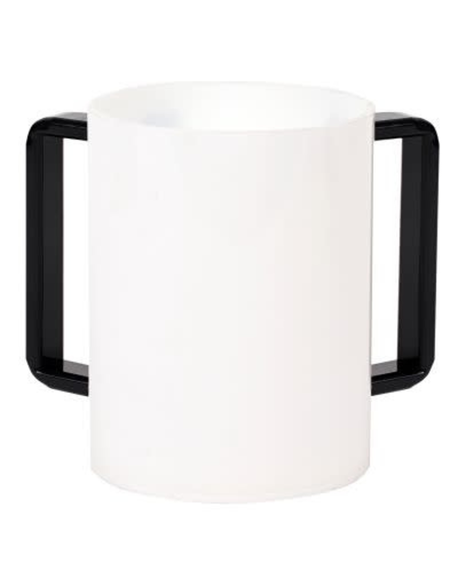 "57186 Acrylic Washing Cup   White Black Handles 5"""