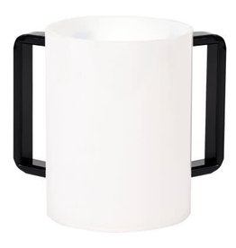 57186 Acrylic Washing Cup   White Black Handles 5""
