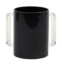 "57188  Acrylic Washing Cup  Black Clear Handles 5"""