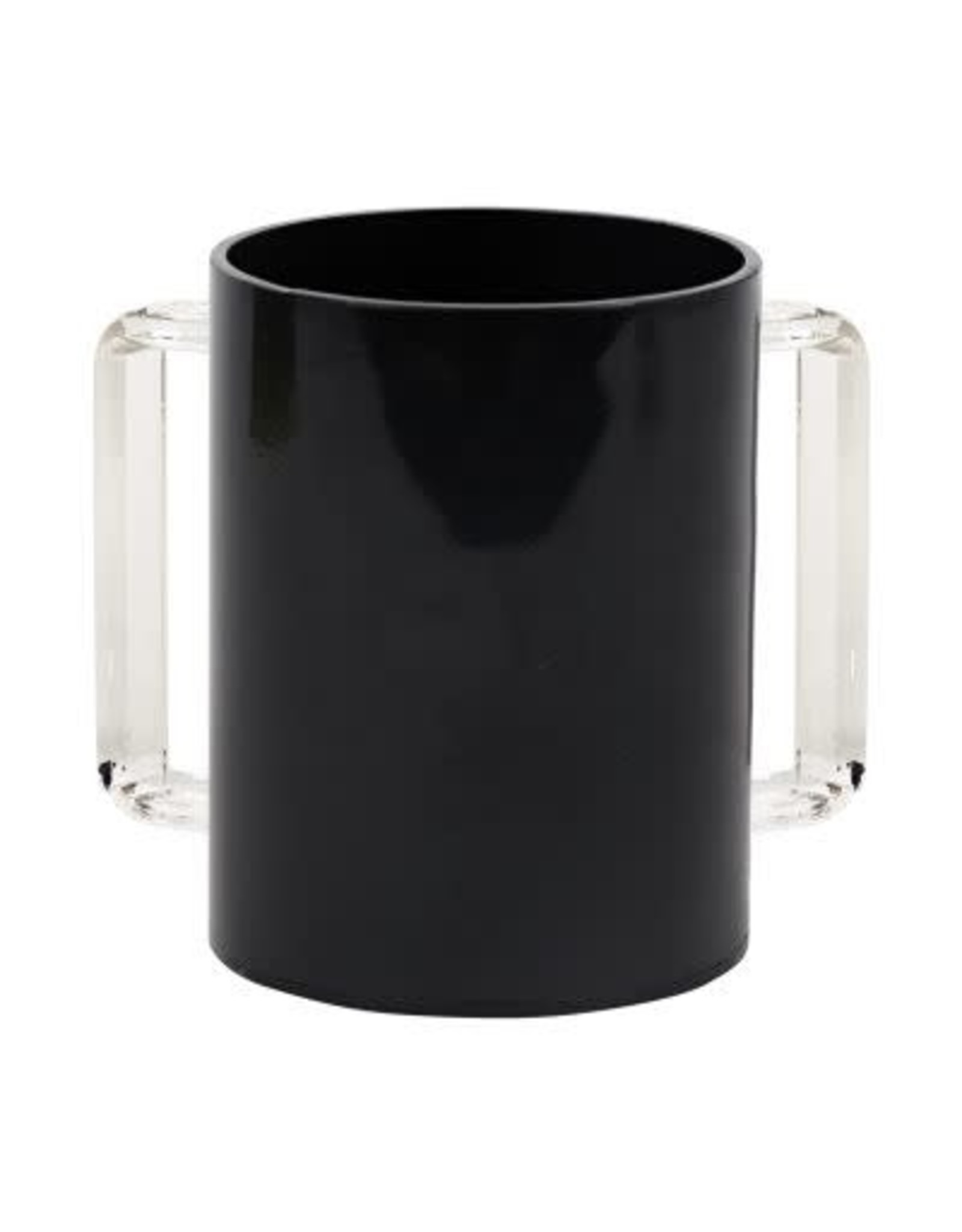 57188  Acrylic Washing Cup  Black Clear Handles 5""
