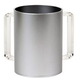 """57189 Acrylic Washing Cup Silver Clear Handles 5"""""""