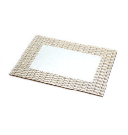 """Glass Mirror Tray with gold Stripes 14x10"""""""