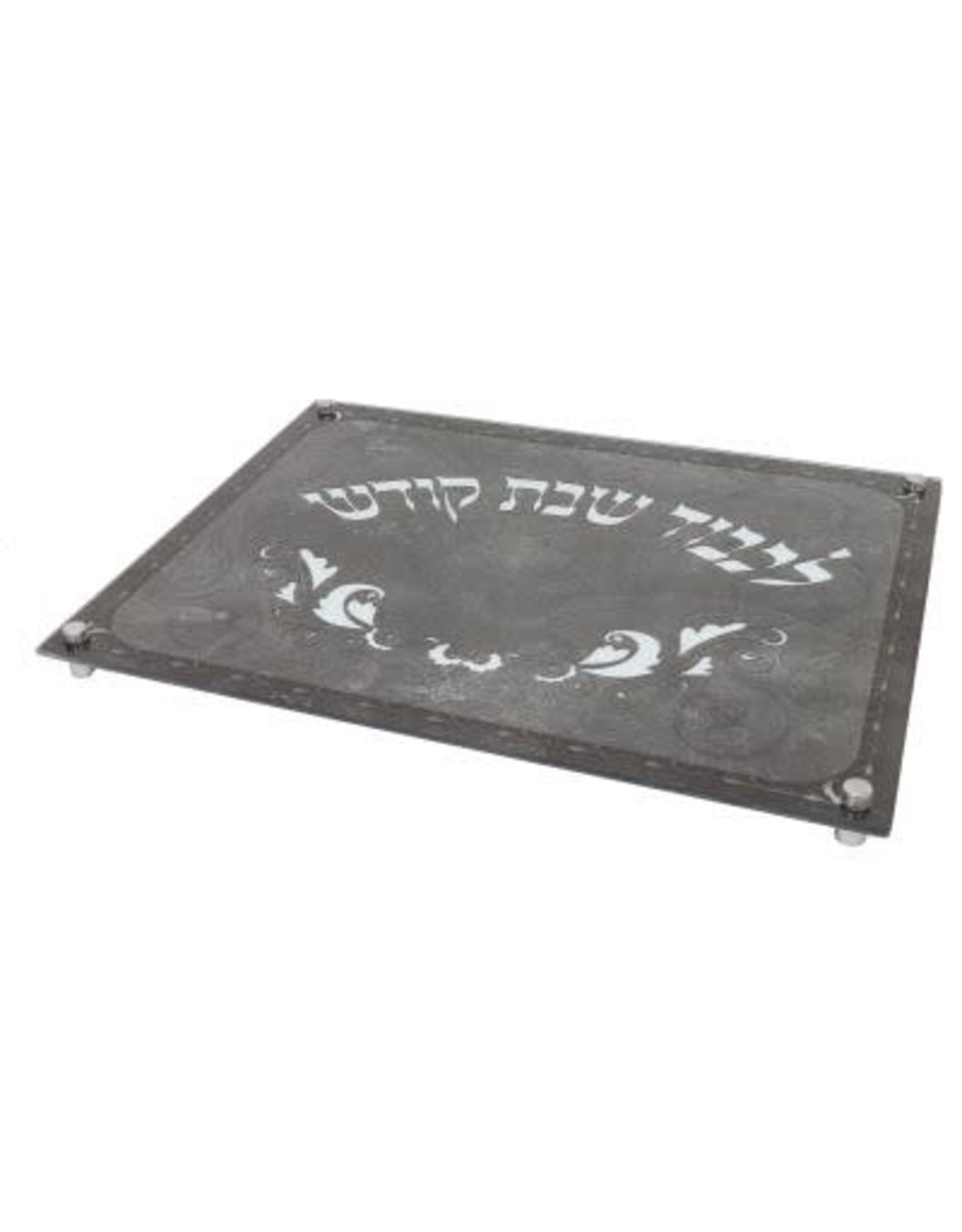 58291 Glass Challah board gray marble with legs 12x16""