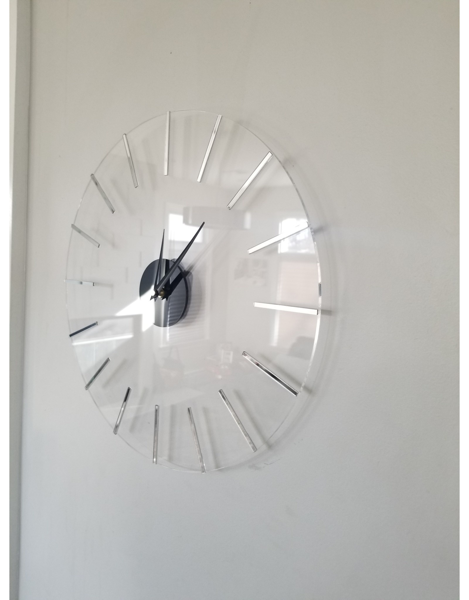 Presented Touch 16 Inch Acrylic Clock Lines Silver