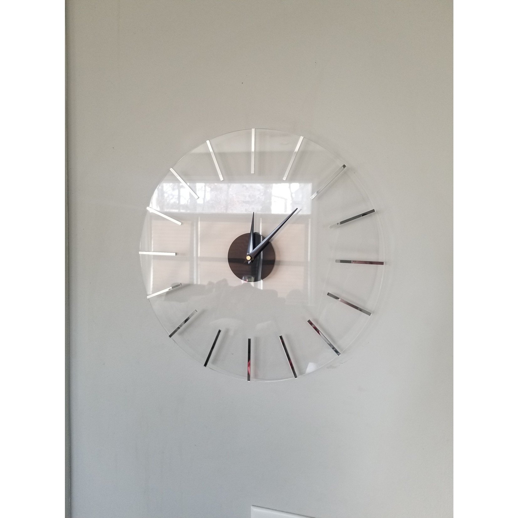 Presented Touch 12 Inch Acrylic Clock Lines Silver