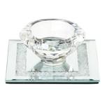 "55533 Crystal Candle Holder w Glass Base Square Base 3.5x3.5"""
