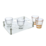 B1090.027.18 Acrylic stand with 6 Gold liqueur cups