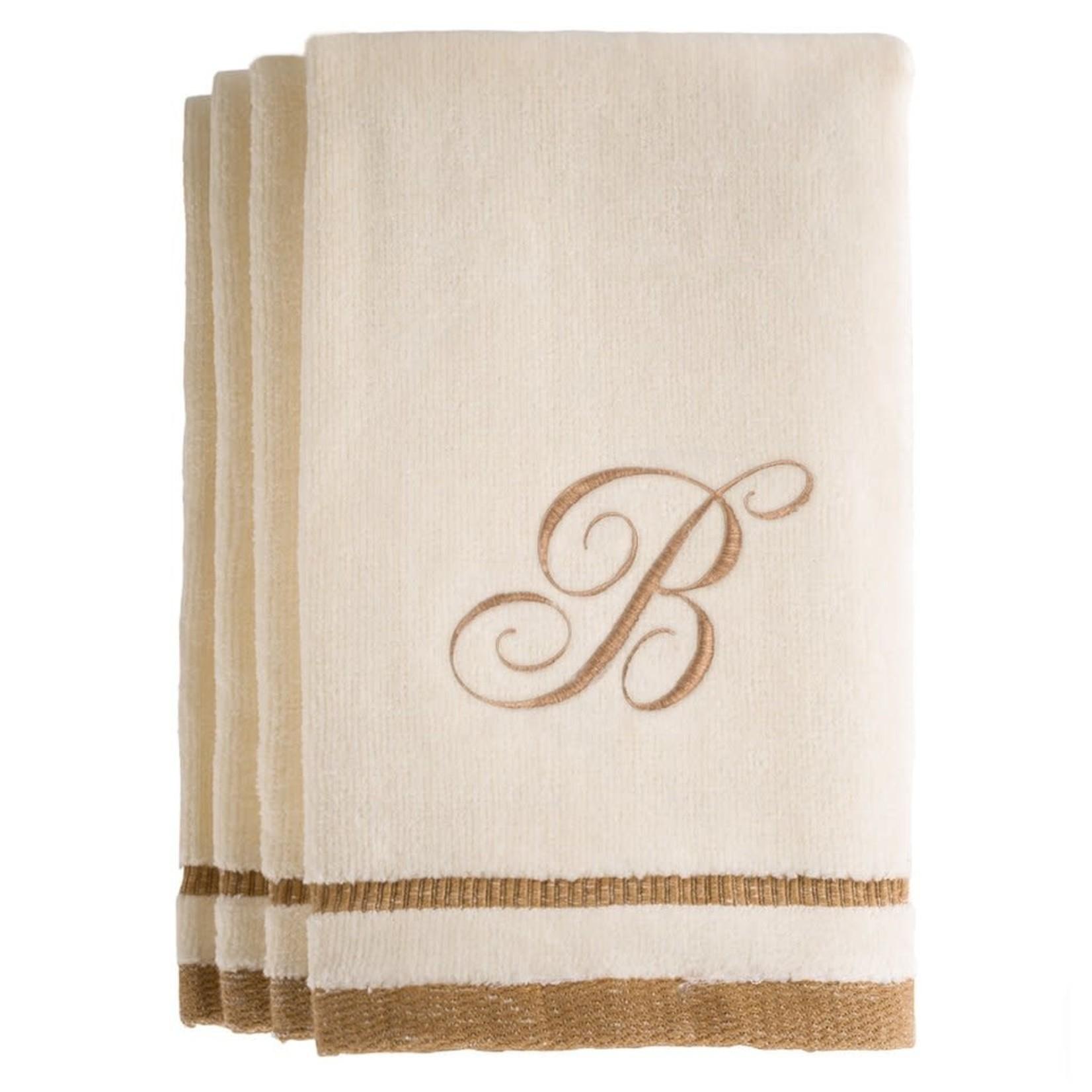 Creative Scents B - Cotton velour monogram towel - Ivory