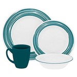 Corelle CORELLE SET ROUND, BRUSHED TURQUOIS Service For 4