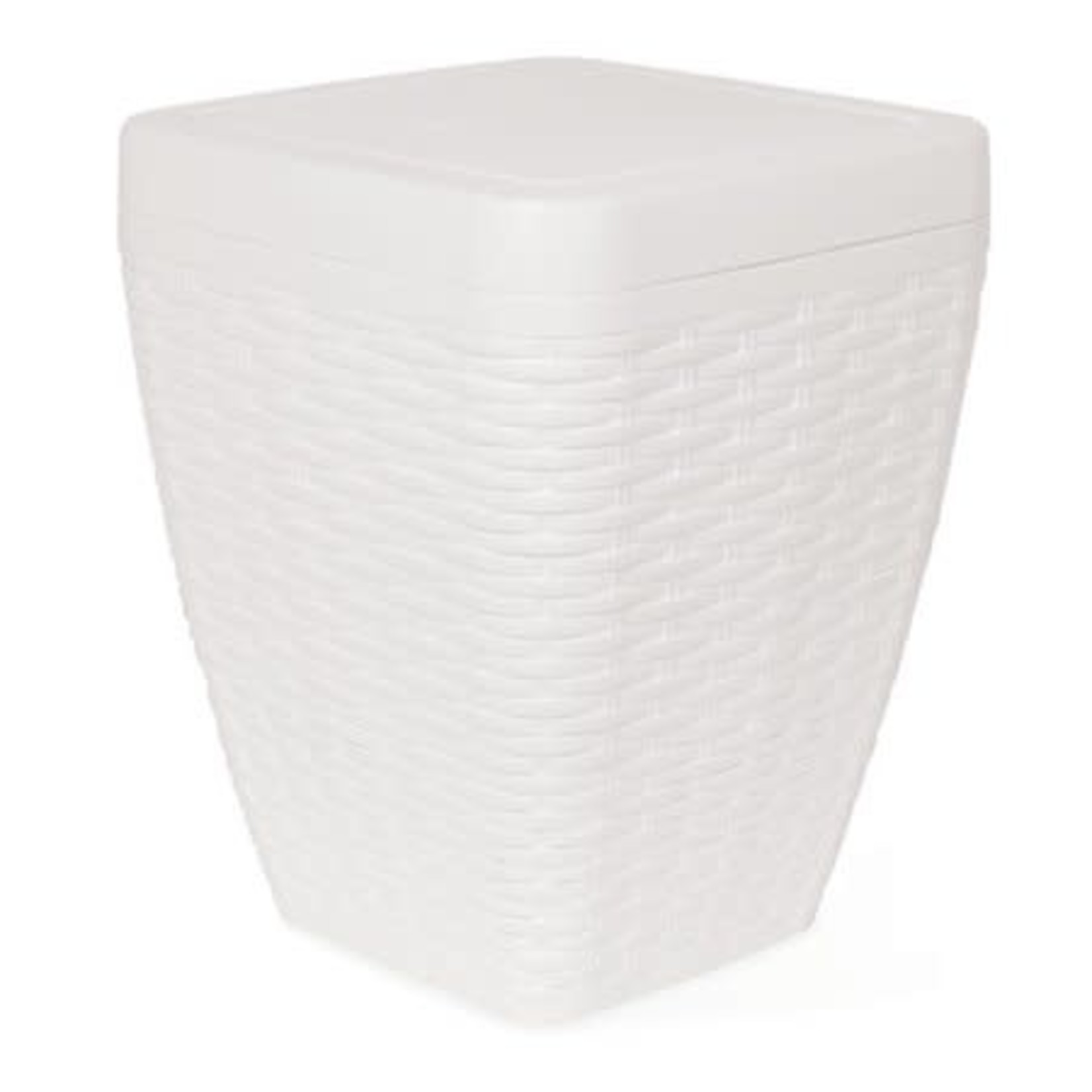 6.5 qt Deluxe Wicker Square Swing Trash Can, White