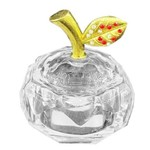 182126 Crystal Honey Dish With Gold Leaf Red & White Crystals