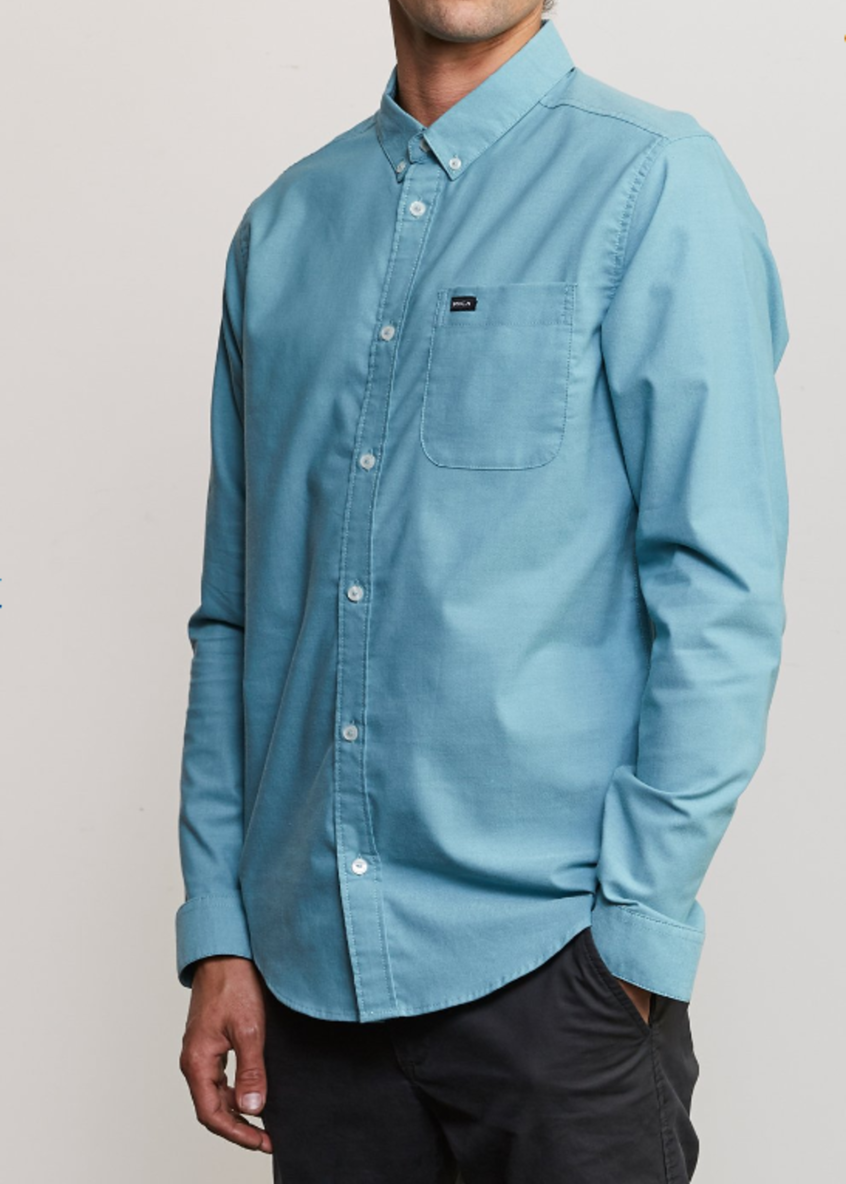 RVCA That'll Do Stretch Long Sleeve Woven - Nile Blue