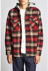 Brixton Bowery Hooded Flannel – Red/Black