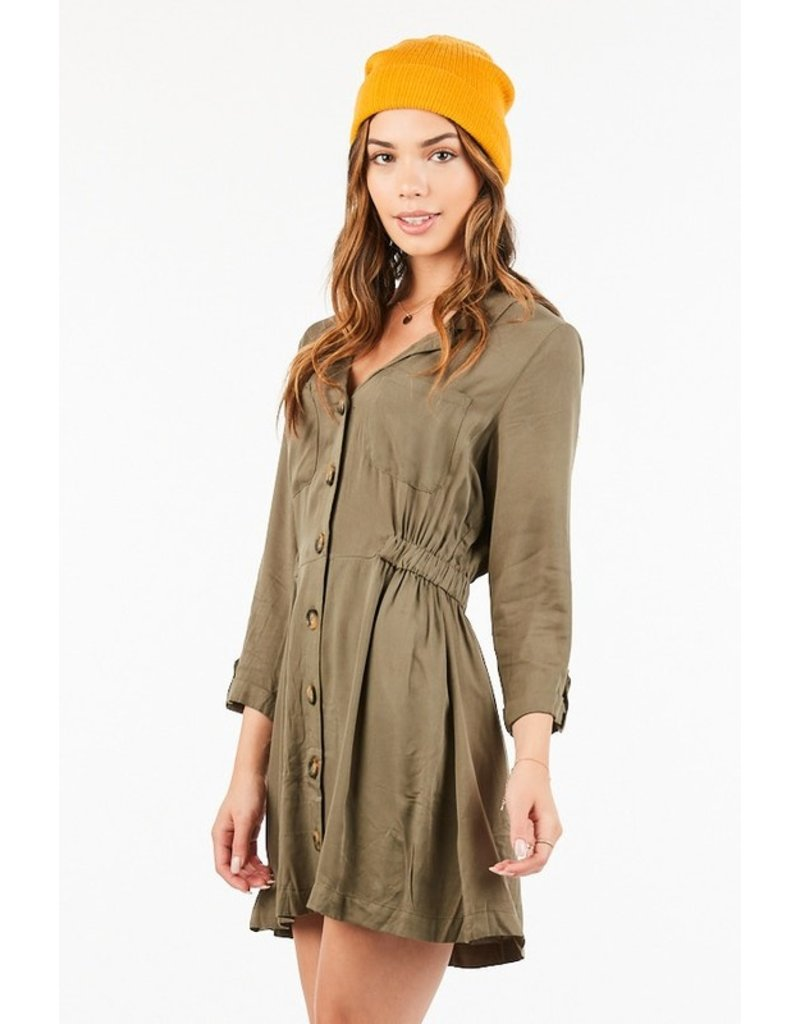 Button Up Dress - Olive