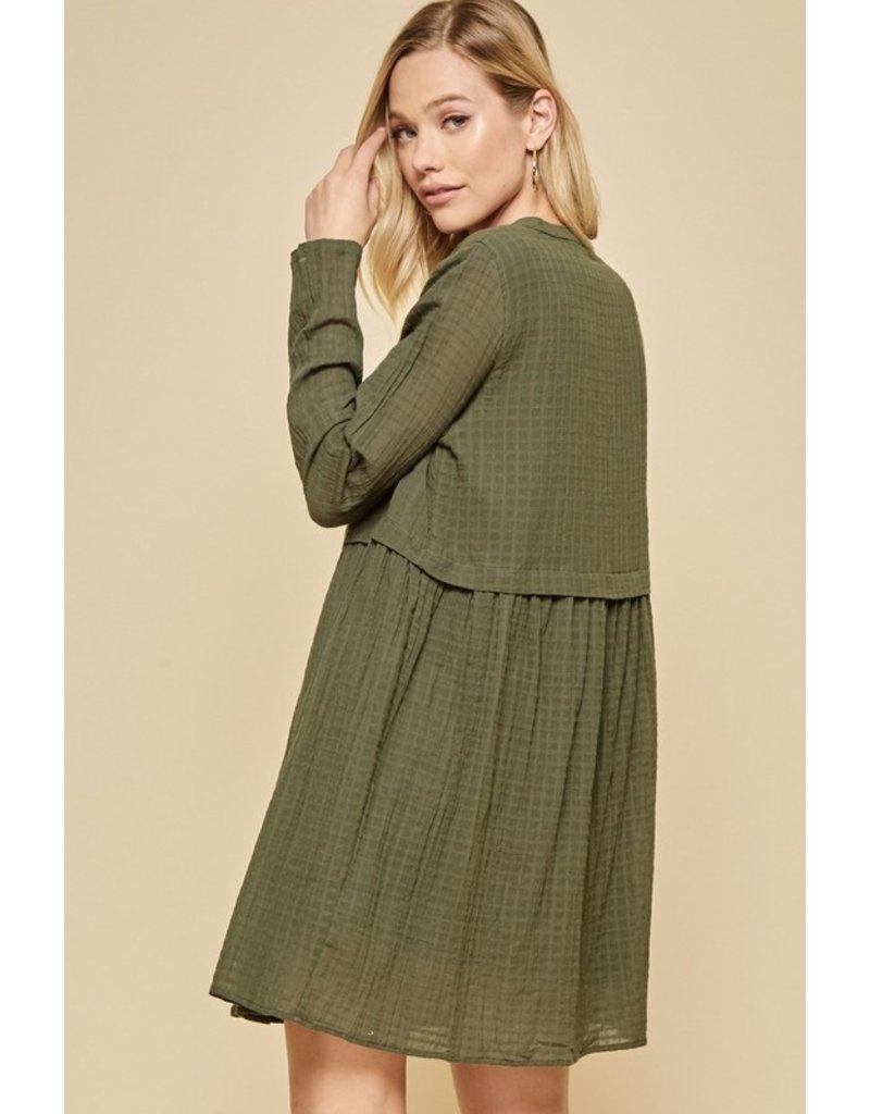 Button Up Shift Dress - Olive