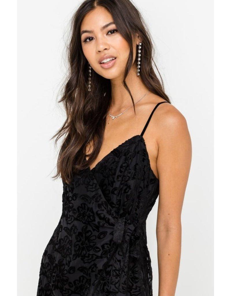 Lush Velvet Burnout Wrap Dress - Black