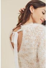 Fuzzy Sweater w/Ribbon Tie - Blush