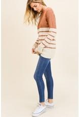 Stripe Color Block sweater - Rust/Ivory