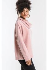 Z Supply Fleece Scallop Cowl Neck - Blush