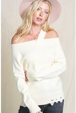 Single Strap Off Shoulder Sweater
